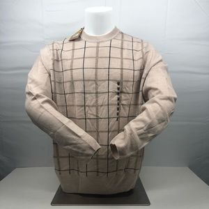 New Plaid Dockers Cream Crewneck Sweater with Tags